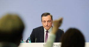 epa06290658 Mario Draghi, the President of the European Central Bank (ECB), gives a press conference in Frankfurt am Main, Germany, 26 October 2017. The European Central Bank announced it would keep its lending rate at zero per cent and extends its ongoing bond-buying scheme but reduces the scope from 60 billion euro to 30 billion euro as part of its monthly quantitative easing programme as a major policy shift. The new policy is to take effect as of January 2018 and lasts at least until September.  EPA/ARMANDO BABANI