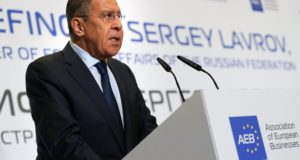 epa06299324 Russian Foreign Minister Sergei Lavrov speaks during a meeting with AEB (Association of European Business) members in Moscow, Russia, 31 October 2017. Sergei Lavrov briefed AEB members on the topic 'EU - Russia relations at the current stage'. According to media reports on 31 September Lavrov in his statemnet said allegations of Russian meddling in US and European elections are 'fantasies'.  EPA/YURI KOCHETKOV