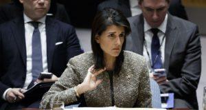 Nikki Haley, az USA ENSZ nagykövete az ENSZ Biztonsági Tanácsának ülésén New Yorkban, 2017. november 29-én. EPA/JUSTIN LANE