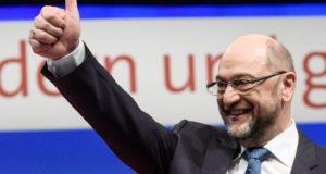 Berlin, 2017. december 7. Martin Schulz, a Német Szociáldemokrata Párt (SPD) elnöke a párt háromnapos berlini tisztújító kongresszusának nyitóülésén 2017. december 7-én. (MTI/EPA/Clemens Bilan)