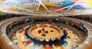 Brüsszel, 2017. december 14.  A brüsszeli Európa-épület ülésterme az uniós országok kétnapos állam- és kormányfői csúcstalálkozójának kezdetén 2017. december 14-én. (MTI/EPA pool/Julien Warnand)
