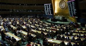 New York, 2017. december 21. A szavazás eredménye egy kijelzőn az ENSZ Közgyűlésén a világszervezet New York-i székházában 2017. december 21-én. Az ENSZ Közgyűlése csütörtökön 128 vokssal, kilenc ellenszavazattal és 35 tartózkodással megszavazta a Donald Trump amerikai elnök Jeruzsálem státuszára vonatkozó döntését elítélő határozattervezetet. (MTI/EPA/Justin Lane)