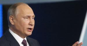 Moszkva, 2017. december 23. Vlagyimir Putyin orosz elnök beszél a kormányzó Egységes Oroszország párt éves kongresszusán Moszkvában 2017. december 23-án. (MTI/EPA pool/Makszim Sipenkov)