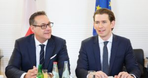 epa06417854 Austrian Vice-Chancellor Heinz-Christian Strache (L), the leader of the right-wing Austrian Freedom Party (FPOe) and Austrian Chancellor Sebastian Kurz (R), the leader of the Austrian Peoples Party (OeVP) before the government meeting at the Schloss Seggau in Leibnitz, Styria, Austria, 05 January 2018. It is the first work meeting to discuss the key aspects the new coalition government between Austrian Peoples Party (OeVP) and the right-wing Austrian Freedom Party (FPOe).  EPA/FLORIAN WIESER