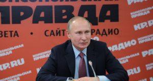 Moszkva, 2018. január 11. Vlagyimir Putyin orosz elnök az orosz újságok és hírügynökségek vezetőivel találkozik a Komszomolszkaja Pravda című napilap moszkvai szerkesztőségében 2018. január 11-én. (MTI/EPA/Szputnyik pool/Elnöki sajtószolgálat/Alekszej Druzsinyin)