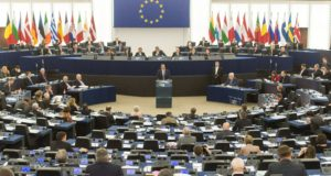 Strasbourg, 2018. január 17. Leo Varadkar ír miniszterelnök felszólal az Európai Parlament plenáris ülésén Strasbourgban 2018. január 17-én. (MTI/EPA/Patrick Seeger)