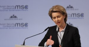 epa06533166 German Defense Minister Ursula von der Leyen speaks during the 54th Munich Security Conference (MSC), in Munich, Germany, 16 February 2018. In their annual meeting, politicians and various experts and guests from around the world discuss issues surrounding global security from February 16 to 18.  EPA/RONALD WITTEK