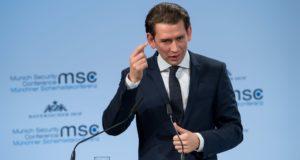Ausztria kancellárja, Sebastian Kurz beszél az 54. müncheni biztonságpolitikai konferencián, 2018 február 17-én. EPA/KUHLMANN / MSC / MUELLER
