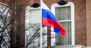 epa06630692 An exterior view of the Russian Embassy in the Hague, the Netherlands, 26 March 2018. The Netherlands announced that two Russian diplomats will be made persona non grata in a sign of solidarity with Britain, as a reaction to the poisoning of Russian former spy Sergei Skripal and his daughter Yulia in the British city Salisbury, 04 March 2018. Further reports state that Germany and France have joined 14 EU member States to expel Russian diplomats and the USA is to expel 60 from the Russian embassy in Washington and from the UN in New York.  EPA/ROBIN VAN LONKHUIJSEN