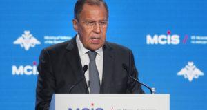 Moszkva, 2018. április 5. Szergej Lavrov orosz külügyminiszter beszédet mond a 7. alkalommal megrendezett kétnapos Moszkvai Nemzetközi Biztonsági Konferencia (MCIS) második napi tanácskozásán, 2018. április 5-én. (MTI/EPA/Szergej Csirikov)